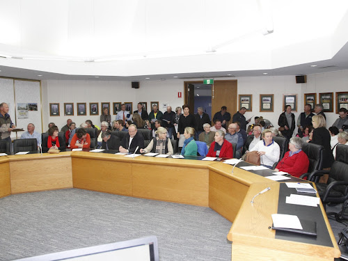 The council chambers filled early with more than 100 people present for the CUC information meeting.