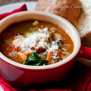 Pressure Cooker Minestrone Soup with Basil Pesto.