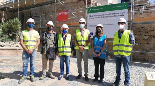 A buen ritmo las obras de la muralla norte del primer recinto de la Alcazaba