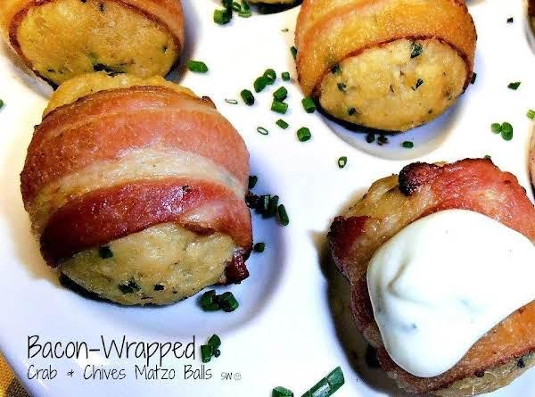 Bacon-wrapped Crab & Chives Matzo Balls
