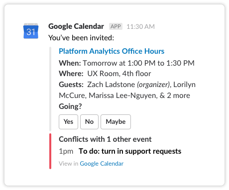 See calendar scheduling conflicts and respond to invites