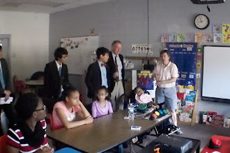 Photo: Asheville School students on their first visit to Hall Fletcher Elementary School.