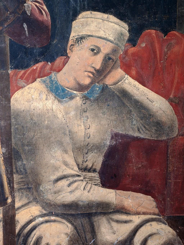 Piero della Francesca, Sogno di Costantino (De droom van Constantijn) dettaglio figura guardando verso lo spettatore, le Storie della Vera Croce, Basilica di San Francesco, Arezzo