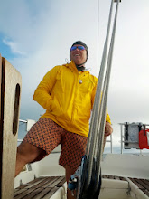 Photo: Jeff making a fashion statement at the helm