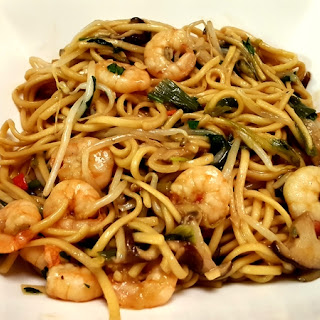 Noodles with Shrimps in Soy Sauce
