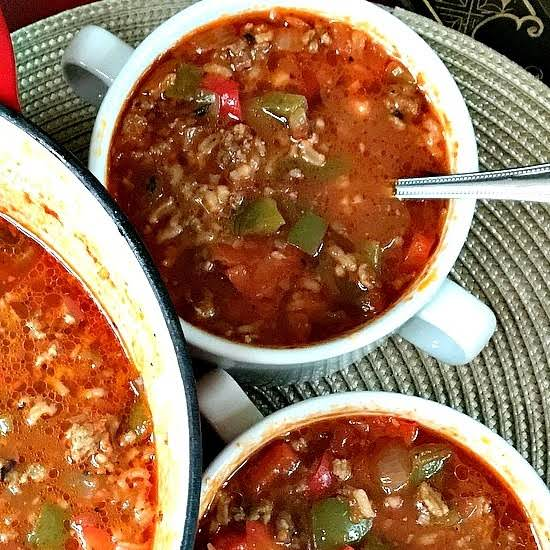 This Stuffed Pepper Soup Has The Same Awesome Flavors Of Stuffed Peppers With A Lot Less Work. Just Think Of It As Deconstructed Stuffed Peppers. It Comes Together Very Quickly And Is A Family Favorite.
