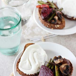Roasted Beet, Mushroom and Asparagus Sandwich