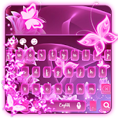 Neon pink butterflies keyboard