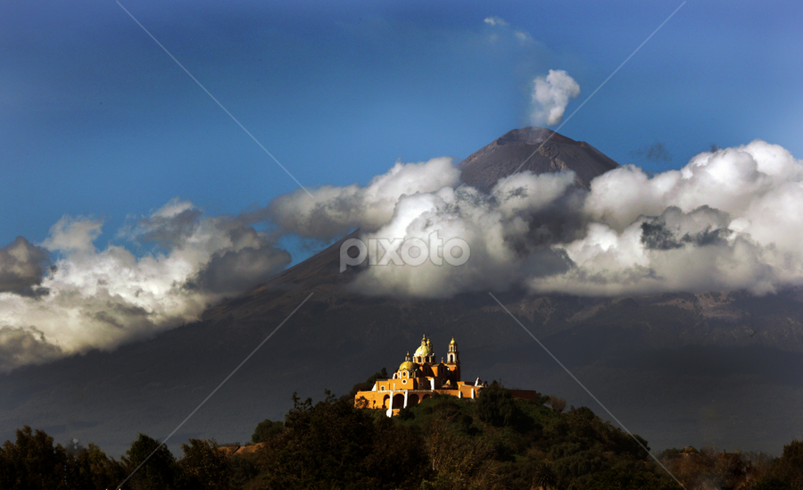 Volcano and church by Cristobal Garciaferro Rubio - Landscapes Mountains & Hills ( cholula, volcano, mountain, mexico, puebla, popocatepetl, smoking volcano )