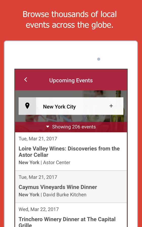 Wine Events- screenshot
