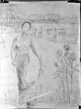 """Photo: 5 - Dessin préparatoire - """"Versailles, au parc et roses"""" (mine de plomb 120*80 cm)"""