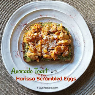 Avocado Toast with Harissa Scrambled Eggs.