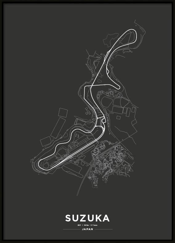 Poster, Suzuka International Racing Course F1 Print