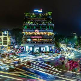 Crowded in Hanoi by Mac Evanz - City,  Street & Park  Night