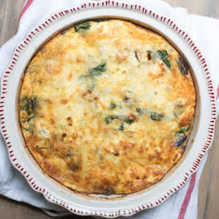 Spinach Mushroom and Feta Crustless Quiche.