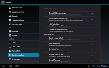 Photo: In the developer options menu we can also enable the WifiDirect and Global Proxy setting pages.