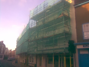 Photo: 2013 summer. Hard to blame this Bull Hotel scaffold on 2008, but after sweeping half a dustbin full of mortar up from my small cottage patio the morning after the quake, it's probable many building's maintenance schedules were brought forward that night.