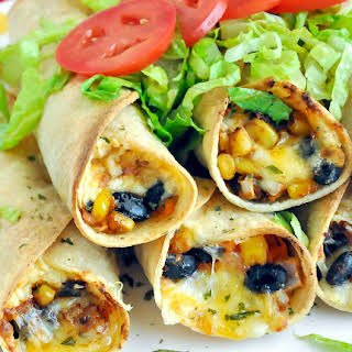 Baked Black Bean and Sweet Potato Flautas.