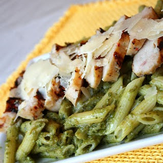 Avocado Penne Pesto with Grilled Chicken