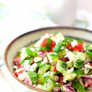 Cucumber, Tomato and Red Onion Salad with Yogurt - Mint Dressing and Feta Cheese