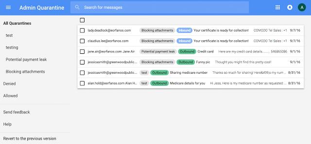 Admin quarantine redesign screenshot