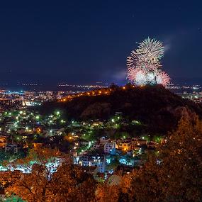 Festive fireworks by Petar Shipchanov - City,  Street & Park  Night ( holiday, plovdiv, hill, youth hill, national day, fireworks, night, tepe, nightscape, city, bulgaria )