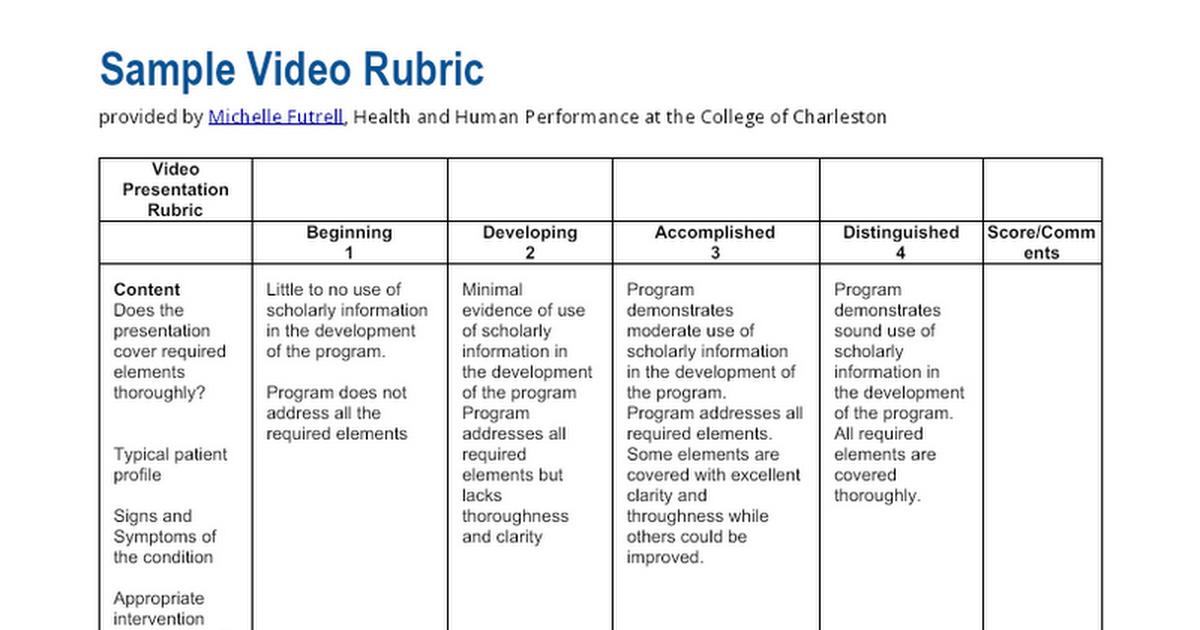 video presentation rubric - google docs, Powerpoint templates