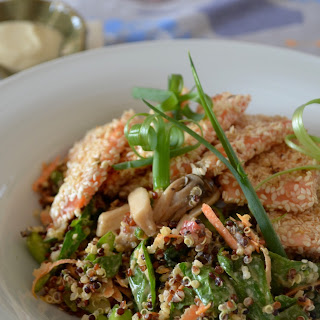Quinoa Salad with Sesame-Crusted Salmon & Yoghurt Tahini Dressing