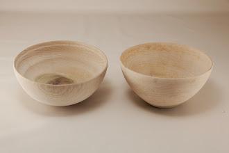 "Photo: Jeff Tate 6"" x 3"" bowls [poplar]"