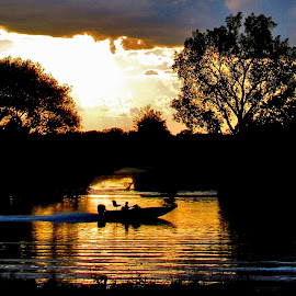Boogie Down At Sundown by Howard Sharper - Sports & Fitness Motorsports ( motorsport, reflections, golden hour, sunset, riverside, boating )