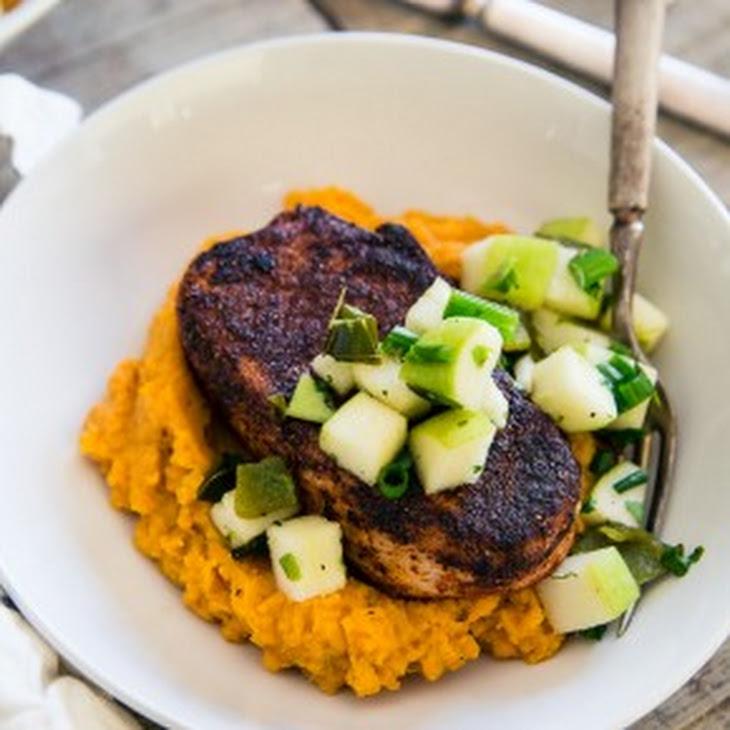 Spiced Pork Chops with Charred Poblano Apple Salsa Recipe