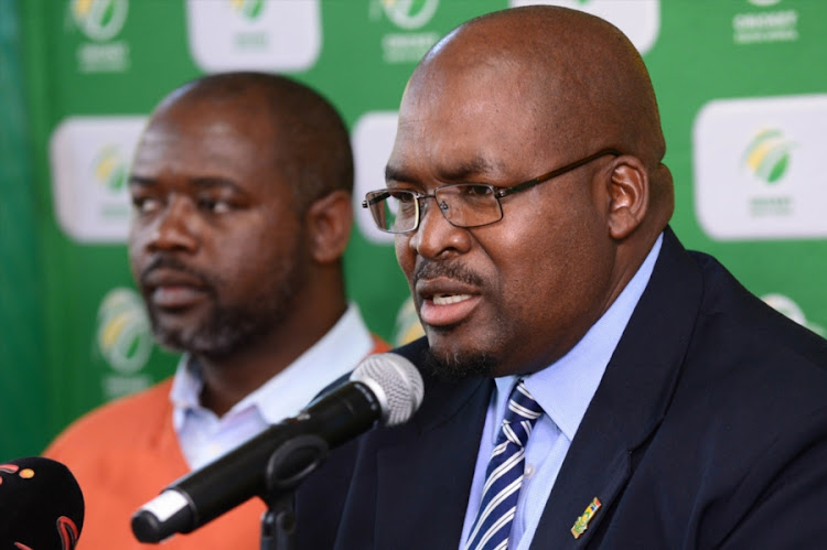 Cricket South Africa (CSA) president Chris Nenzani (R) and the chief executive Thabang Moroe (L) during the CSA media briefing at Mangaung Oval on October 06, 2017 in Bloemfontein, South Africa.