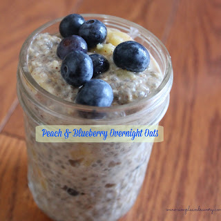 Blueberry and Peach Overnight Oatmeal.
