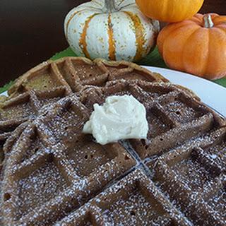 Pumpkin Buttermilk Waffles with Maple Butter.