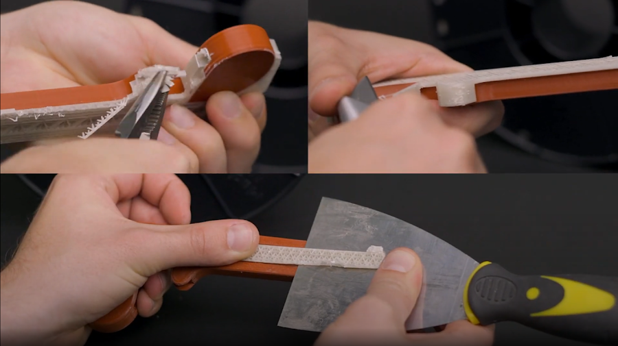 Be careful when removing supports, as they can give way quite rapidly and sharp knives can find fingers rather quickly.