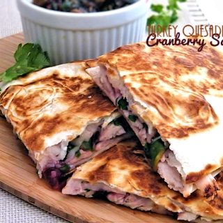 Leftover Turkey Cranberry Salsa Quesadillas