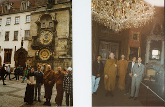 Photo: Ajahn Sumedho at the old astronomical clock at Old Town square in Prague in 1996 (L) At the Konopiste castle (R)
