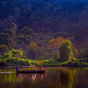 Situ gunung by Dian Anugrah - Landscapes Forests ( tree, forest, lake, boat )