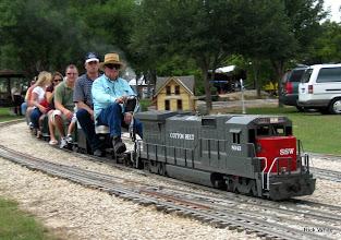 Photo: Ed Rains, engineer, with passenger Art Morris.    HALS 2009-0919