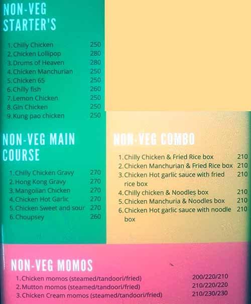 The Hot Chinese menu 1