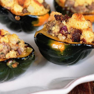 Vegetarian Stuffed Acorn Squash Recipe with Cornbread Stuffing