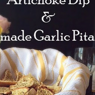 Artichoke Dip & Homemade Garlic Pita Chips