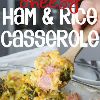 Cheesy Leftover Ham and Rice Casserole with Broccoli