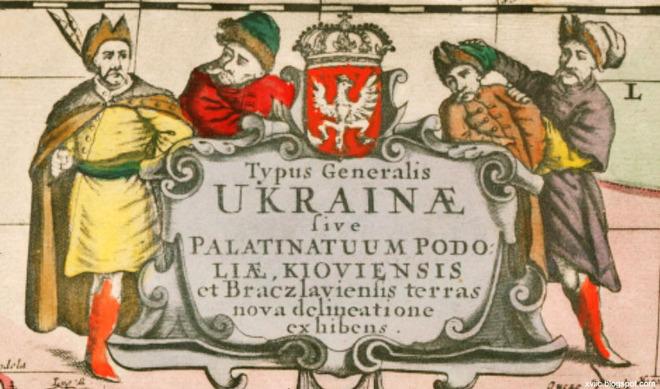 Фрагмент карти Боплана, гравюра Вільгельма Гондіуса, приблизно 1640 р.