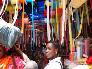 Photo: Trip to the cloth market to get material for clothes!