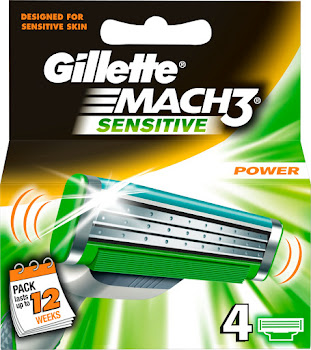 Gillette Mach3 Sensitive Power Blades - 4pk