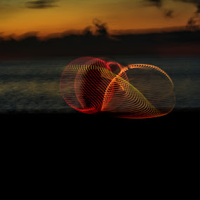 Golden Twirls by Don Kuhnle - Abstract Light Painting ( twirling, hoola hoop, light, night, colors )