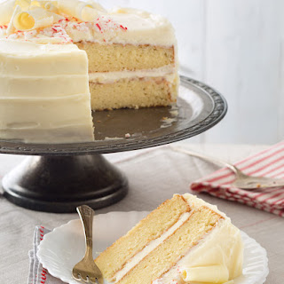 Vanilla Cake with White Chocolate-Peppermint Frosting.