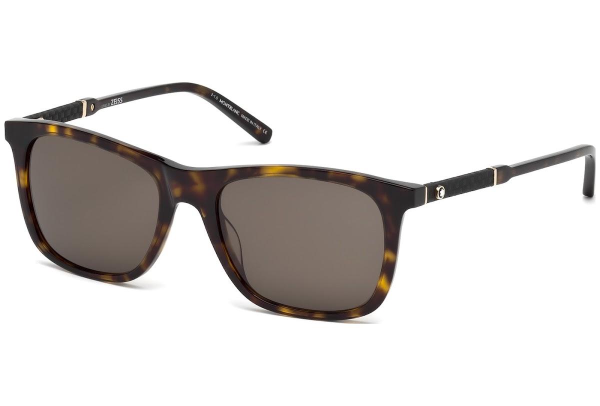 cac9f8202386 Buy Montblanc MB606S C54 52E (dark havana   brown) Sunglasses