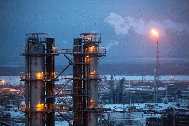 A gas flare burns at Russian oil refinery, operated by OAO Lukoil. in Russia. Russia, holds some of the richest shale reserves and seeks to use the same technologies that sparked an industrial boom in the US. File Picture: BLOOMBERG